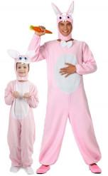 Déguisement de couple lapin rose père et fils