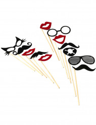 Kit photobooth 12 pièces lunettes et moustaches