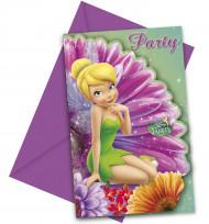 6 Cartes invitations + enveloppes Fée Clochette™