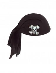 Chapeau bandana noir en polyester Pirate adulte