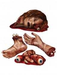 4 Décorations de parties du corps ensanglantées Halloween