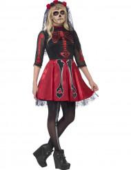 Déguisement squelette rouge à paillettes adolescente Halloween