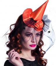 Mini chapeau sorcière orange femme Halloween