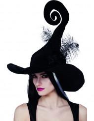 Chapeau sorcière noir avec plumes femme Halloween