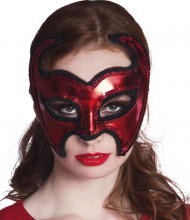 Masque devil brillant rouge femme Halloween