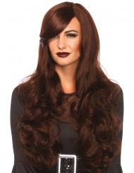 Perruque longue marron femme