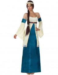 Déguisement médiéval bleu femme