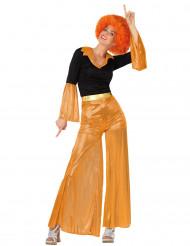 Déguisement disco holographique orange femme