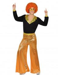Déguisement disco holographique orange homme