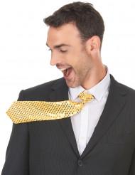 Cravate dorée avec sequins adulte