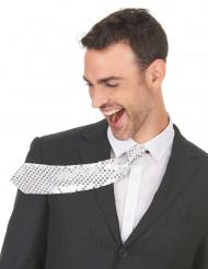 Cravate argentée avec sequins adulte