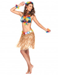 Jupe hawaïenne courte en plastique adulte