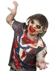 Masque luxe latex zombie sanglant avec cheveux adulte Halloween