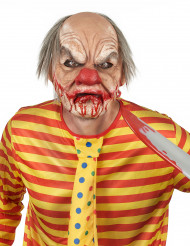Masque luxe latex clown sanglant avec cheveux adulte Halloween