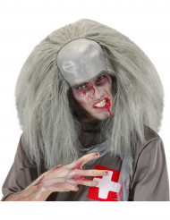 Perruque grise zombie fou homme Halloween