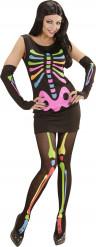 Déguisement squelette fluo femme Halloween