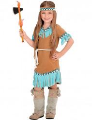 Déguisement petite indienne marron et bleue fille