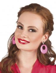 Boucles d'oreilles rose fluo adulte