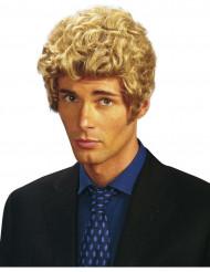 Perruque courte bouclée blonde homme