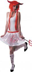 Jupon blanc ensanglanté femme Halloween