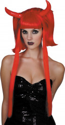 Perruque diablesse rouge mèches longues femme Halloween