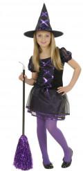 Déguisement sorcière noire et violette fille Halloween
