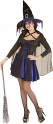 Déguisement sorcière bleue et noire femme Halloween