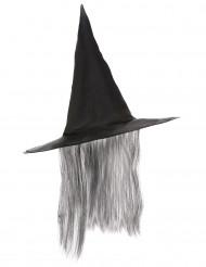Chapeau sorcière noir avec cheveux gris adulte Halloween