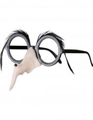 Lunettes nez et sourcils de sorcière femme Halloween
