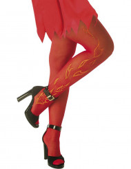 Collants rouge avec flammes adulte Halloween