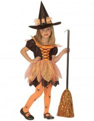 Déguisement petite sorcière orange fille Halloween