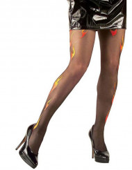 Collants noirs flammes adulte Halloween
