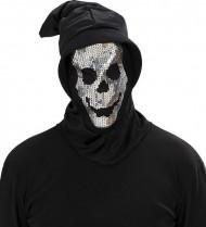 Cagoule squelette à paillettes adulte Halloween