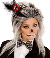 Mini chapeau squelette avec noeud papillon femme