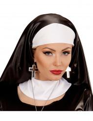 Boucles d'oreilles croix argent et noire femme