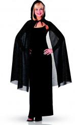 Cape Noir Paillettée 115cm femme Halloween