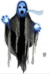 Décoration faucheuse lumineuse et sonore 153 cm Halloween