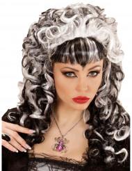 Collier araignée argentée avec strass violet femme Halloween