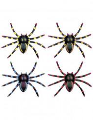 4 Araignées fluo Halloween 7.5 cm