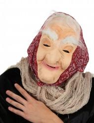 Masque vieille sorcière avec cheveux et foulard femme Halloween