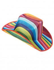 Chapeau cowboy multicolore rayé adulte