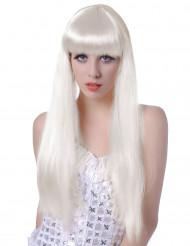 Perruque blanche longue à frange femme