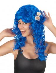 Perruque longue bleu foncé femme