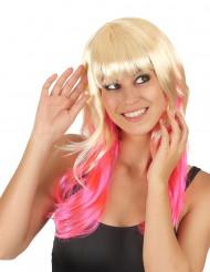 Perruque Tie & Dye blond et rose femme