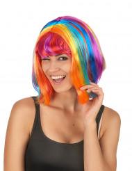 Perruque carré multicolore avec frange femme