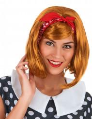 Perruque rousse carré avec frange femme