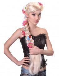 Perruque longue tressée hippie blonde femme