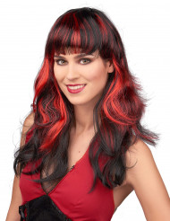 Perruque noire à frange avec avec balayage rouge femme