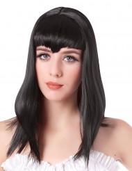 Perruque vampire longue noire avec frange femme