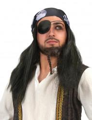 Perruque pirate avec bandana tête de mort homme